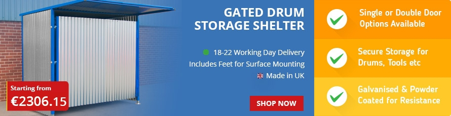 Gated Galvanised Panel Drum Store