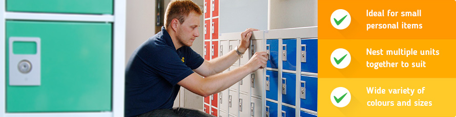 Personal effects lockers for secure small item storage