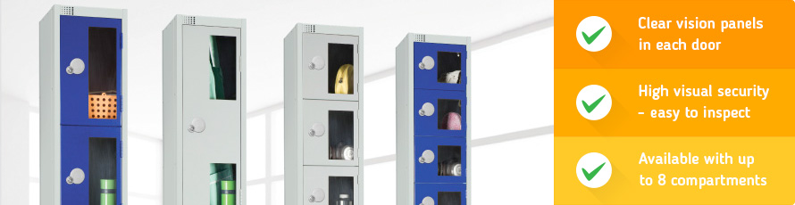 Vision door lockers with clear door panels for high visual security
